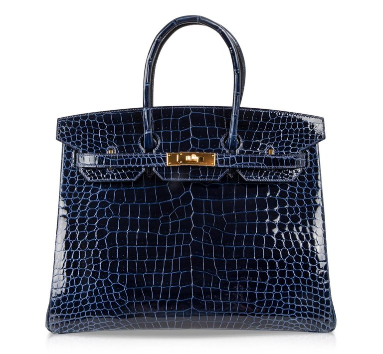 Hermes Birkin 35 Bag Blue Sapphire Porosus Crocodile Gold Hardware New