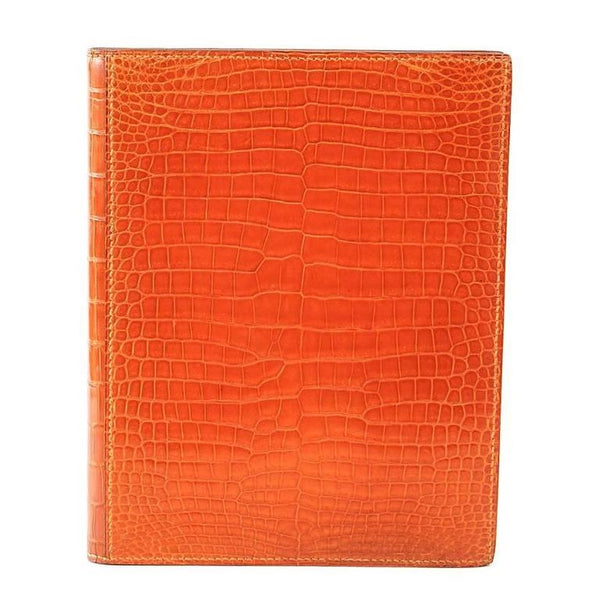 Hermes Globetrotter Agenda Orange Feu Porosus Crocodile