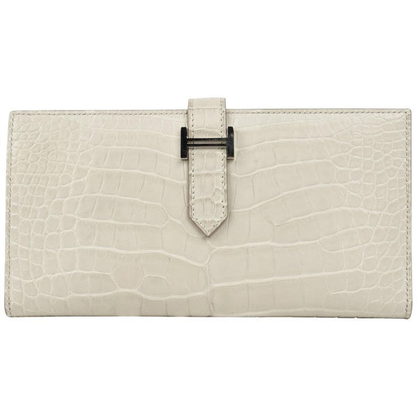 Hermes Bearn Wallet Matte Beton Matte Alligator Palladium New