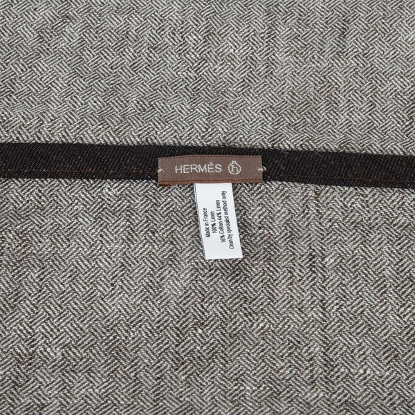 Hermes Kitchen / Bar Linen Towels Gray with Black Edging Set of 2 nwt