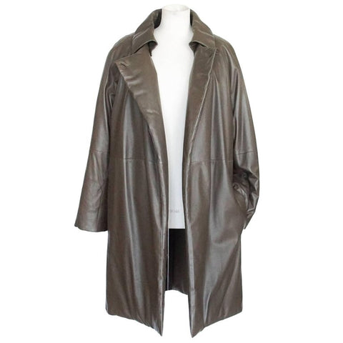 Hermes Coat Lamb Leather Taupe Sleek Subtle Wadding Detachable Collar 38