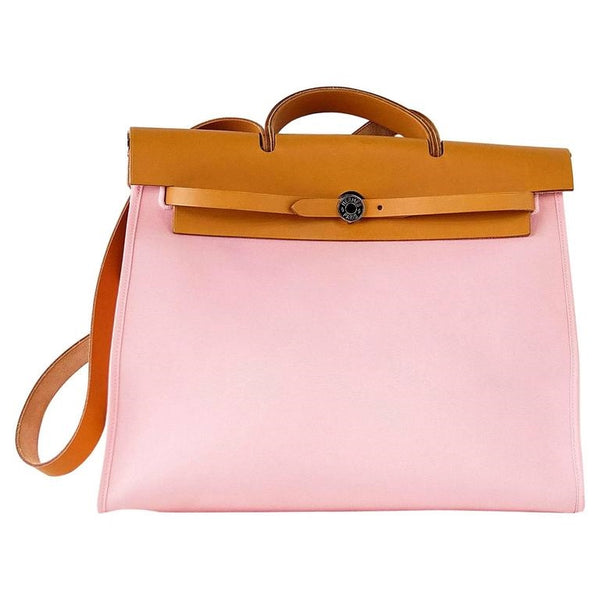 HERMES Herbag Zip 39 GM Vache Hunter Rose Sakura Canvas Palladium Hardware