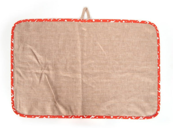 Hermes Kitchen / Bar Towel Set of 2 Linen with Red and White Cotton Trim