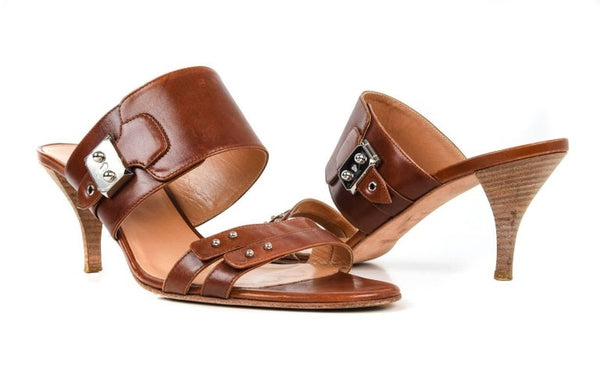 Hermes Shoe Cognac Leather Mule Palladium Hardware 41 / 11
