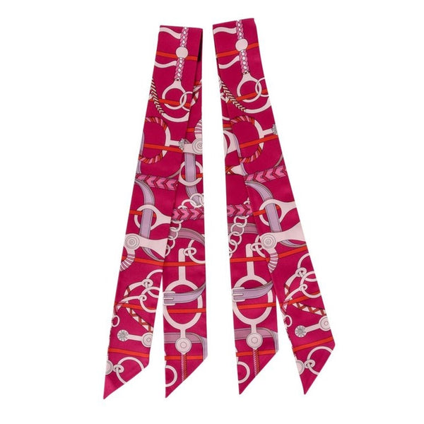 Hermes Twilly Silk Panoplie Equestre Fuchsia Rose Rouge Set of 2