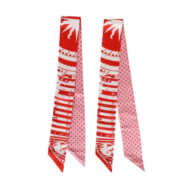 Hermes Twilly Astrologie a Pois Set of Two Rouge Blanc Rose new