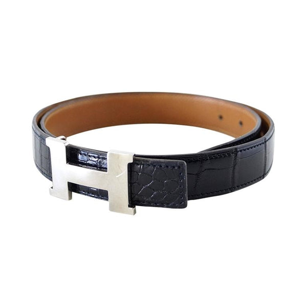 HERMES belt vintage mini constance crocodile palladium buckle