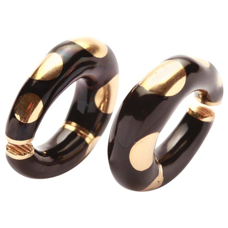 Bulgari Enamel Gold Hoop Earrings