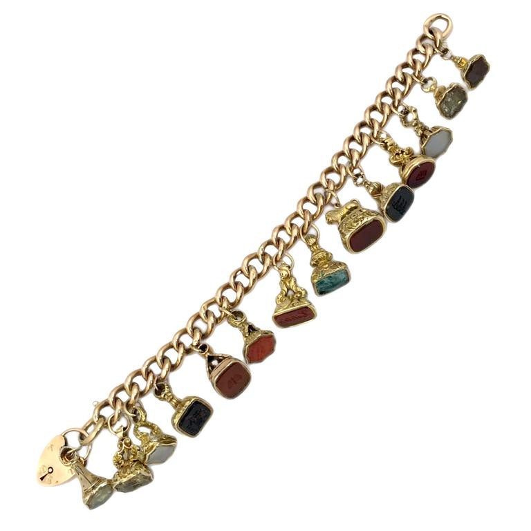 Hard Stones Charms Gold Bracelet