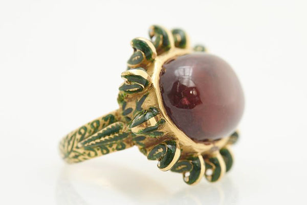 Retro Indian Enamel Tourmaline Yellow Gold Ring