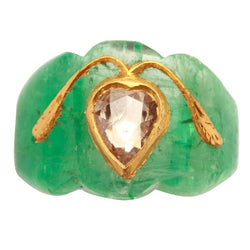 1950s Indian Carved Emerald Diamond Gold Ring