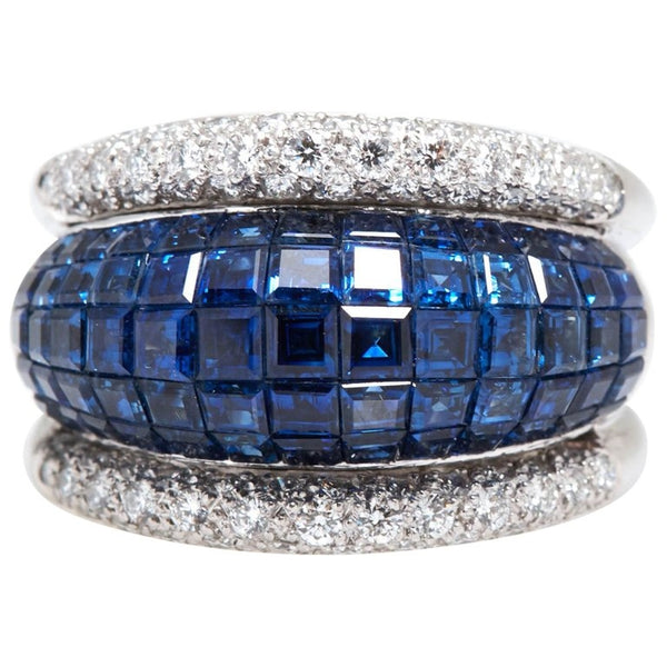 Invisible Set Sapphire andd Diamond Ring