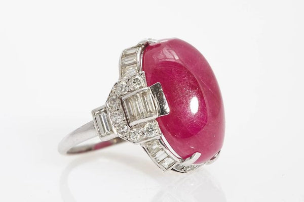 Art Deco 25.03 Carat Ruby Diamond Platinum Ring