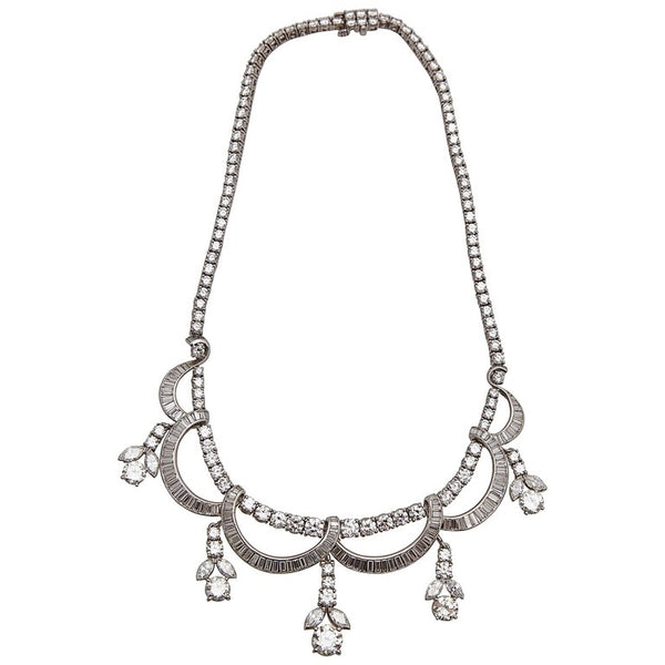 1930s Diamond Platinum Necklace