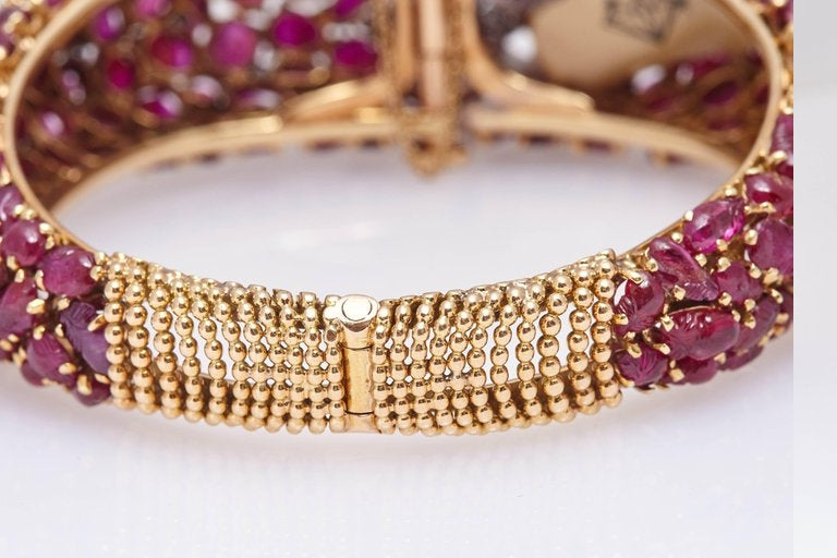 Carved Ruby Emerald and Diamond Cuff Bracelet