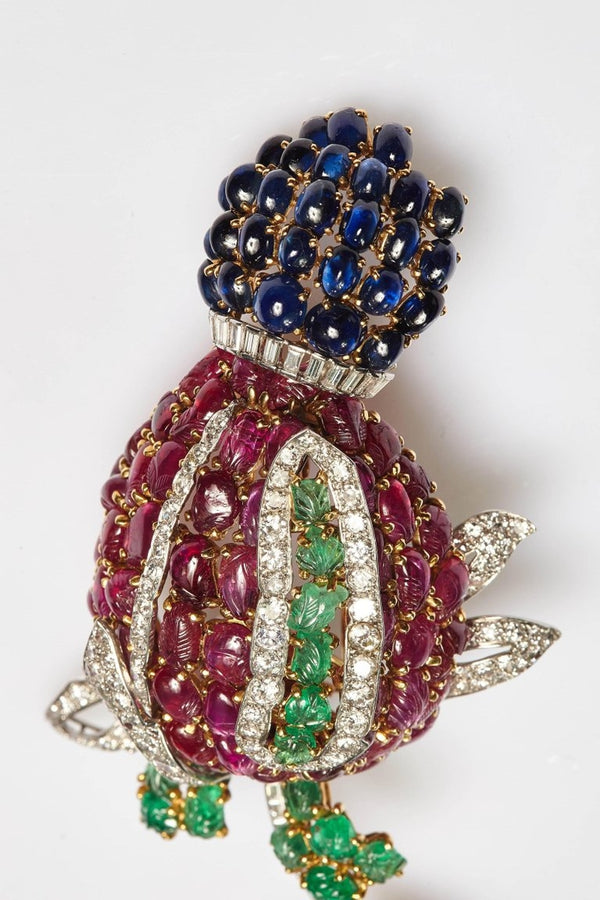 "Exceptional Large Cartier ""Tutti Frutti"" Flower Brooch"