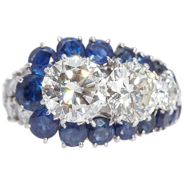 Vintage Van Cleef & Arpels Diamond Sapphire Cocktail Ring