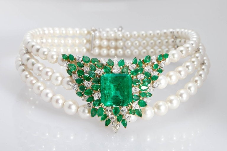 Chantecler Emerald Diamonds Pearl Necklace