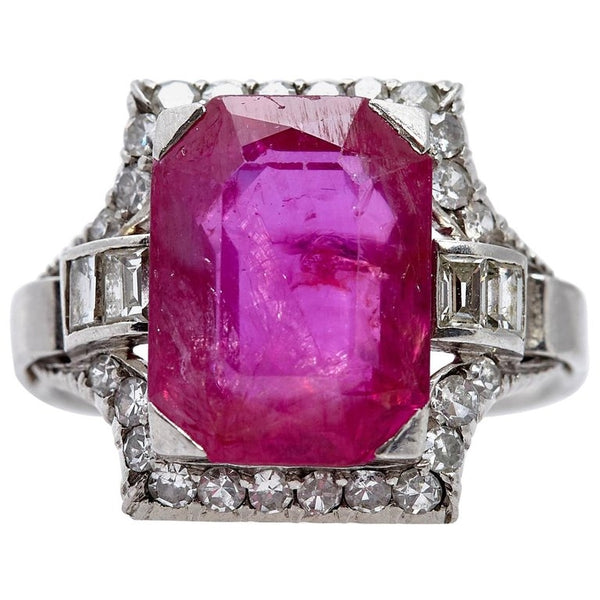 Art Deco Burma Ruby Diamond Ring