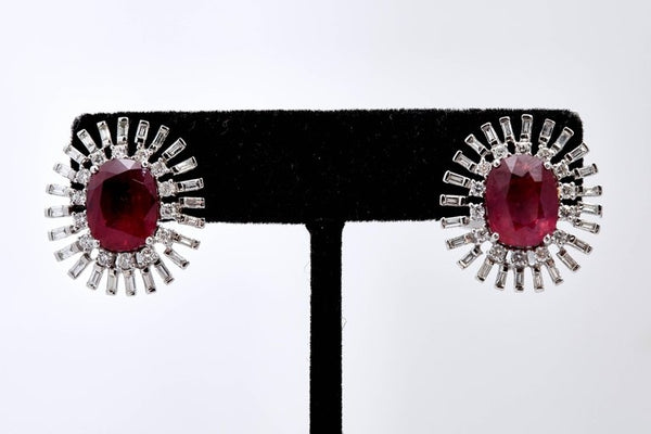 Natural Ruby and Diamond Ear-Clips