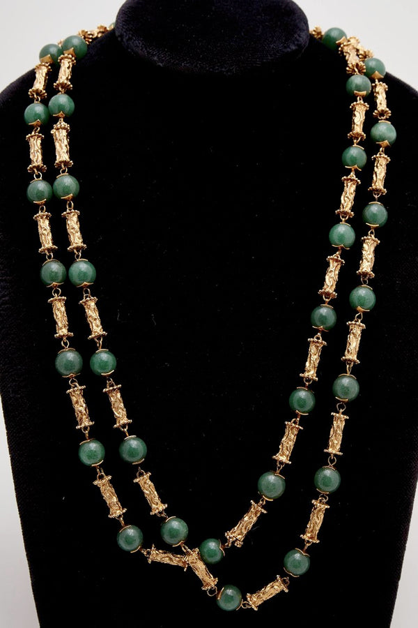 Long Jade and Gold Necklace