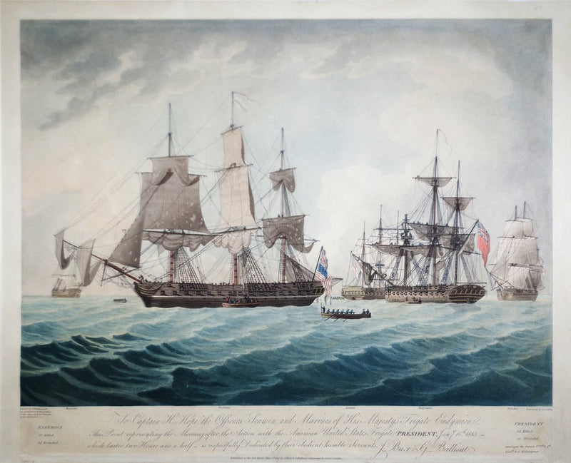 J. JEAKES, ENGR., AFTER, THOMAS BUTTERSWORTH (BRITISH, 1768-1842), TO CAPTAIN H. HOPE THE OFFICERS, SEAMEN, AND MARINES OF HIS MAJESTY'S FRIGATE ENDYMION...