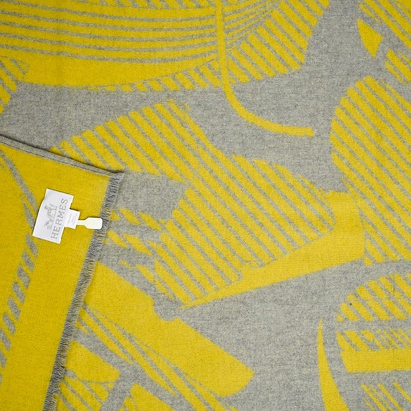 Hermes Blanket Thalassa Jacquard Merino Grey and Yellow new