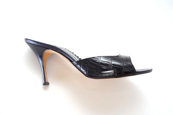MANOLO BLAHNIK Shoe Crocodile Black Mule 37.5 / 7.5