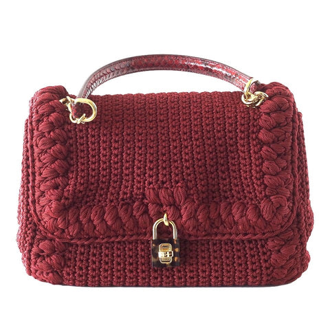 DOLCE&GABBANA bag jewel toned lush crochet snakeskin handle Mint