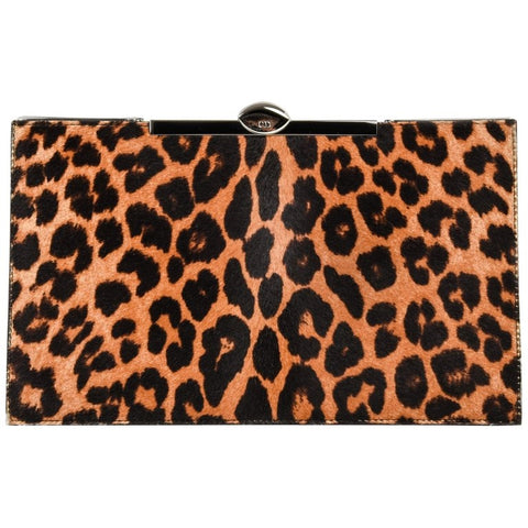 Christian Dior Bag Clutch Leopard Print Pony Top Frame Sleek