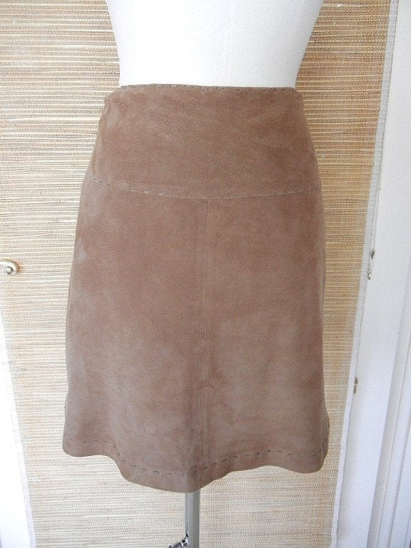 LES COPAINS skirt very soft camel suede 6 nwt
