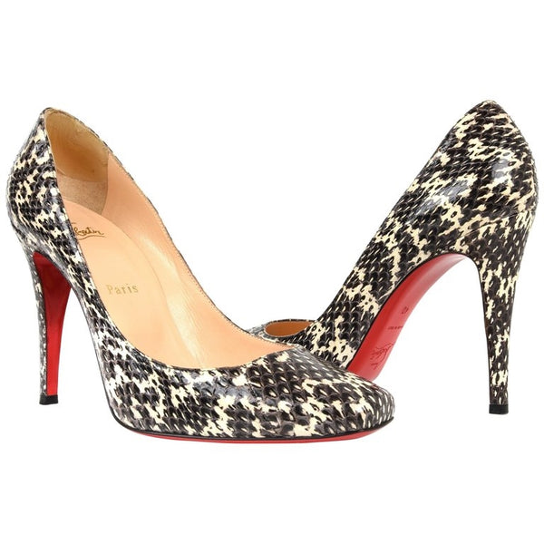 Christian Louboutin Shoe Black and Off White Snakeskin Pump 40 / 10