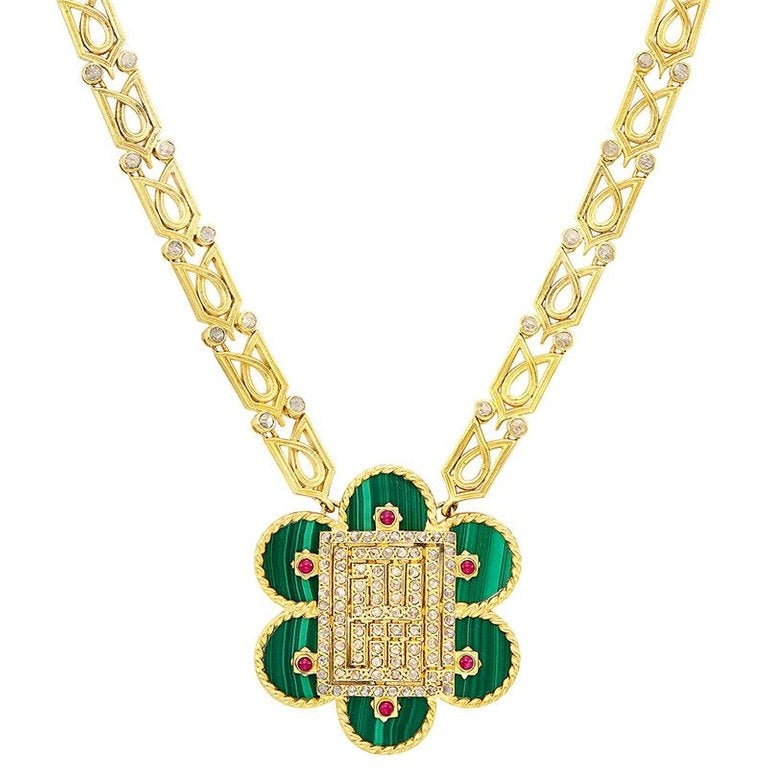 Cartier Malachite Ruby Gold Drop Necklace