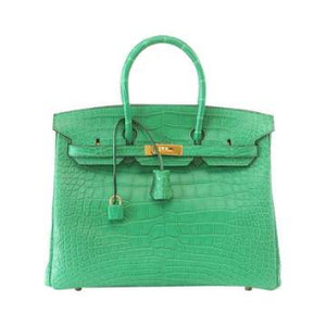 Hermes Birkin 35 Matte Alligator Cactus Gold Hardware Bag