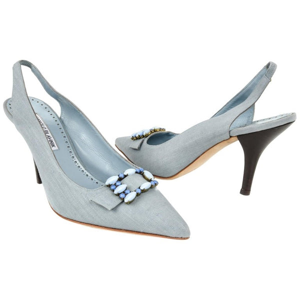 Manolo Blahnik Shoe Light Blue Textile Beaded Buckle Slingback 40.5 / 10.5
