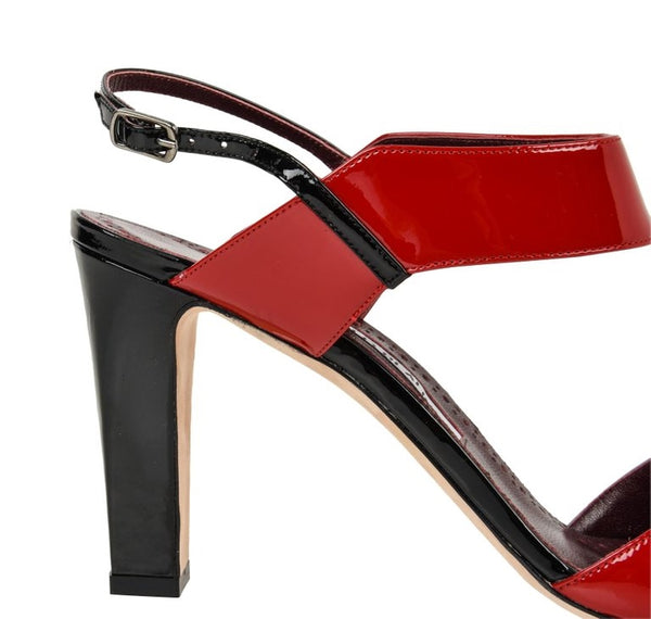 Manolo Blahnik Shoe Multi Coloured Patent Leather Red Blue Black Sandal 40 / 10