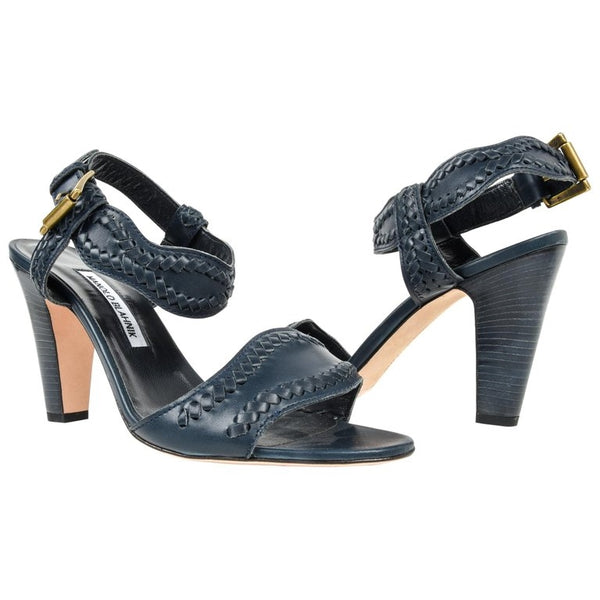 Manolo Blahnik Shoe Navy Blue Leather Sandal 40.5 / 10.5