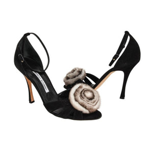 Manolo Blahnik Shoe Black Suede Lush Chinchilla Rose Ankle Strap 39 / 9 new