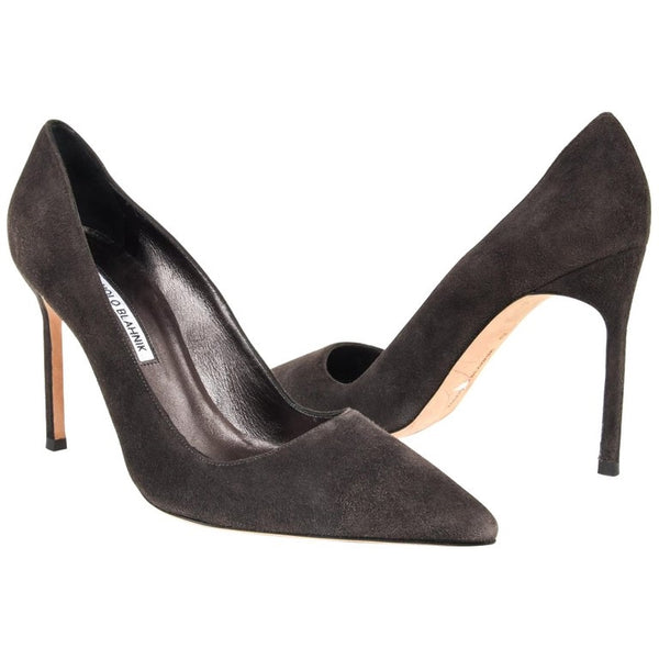 Manolo Blahnik Shoe Glittered Suede Pump Elephant Gray 40 / 10