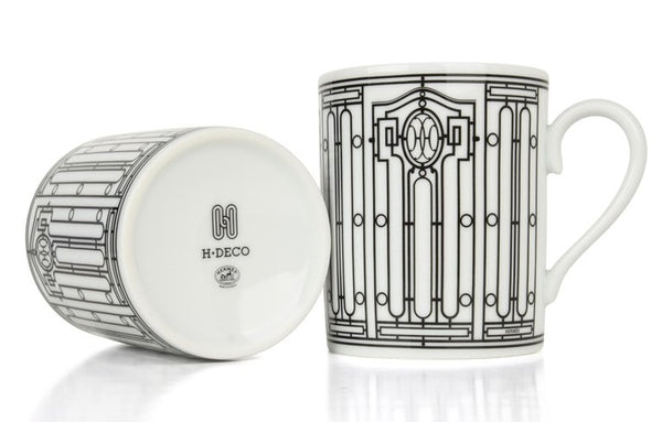 Hermes H Deco Mugs Rouge with White Set of 2 new