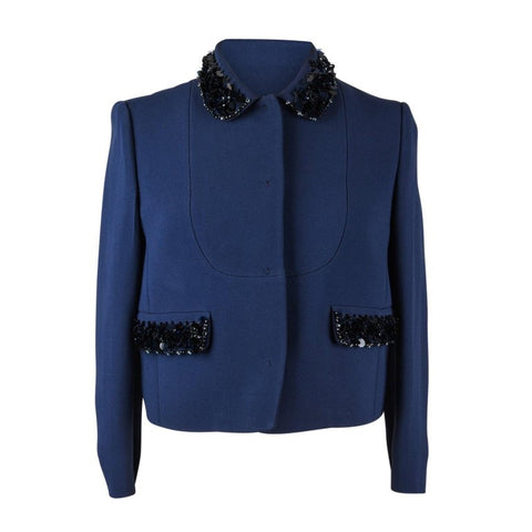 Miu Miu Jacket Navy Embellished Collar / Pockets 3/4 Sleeve 42