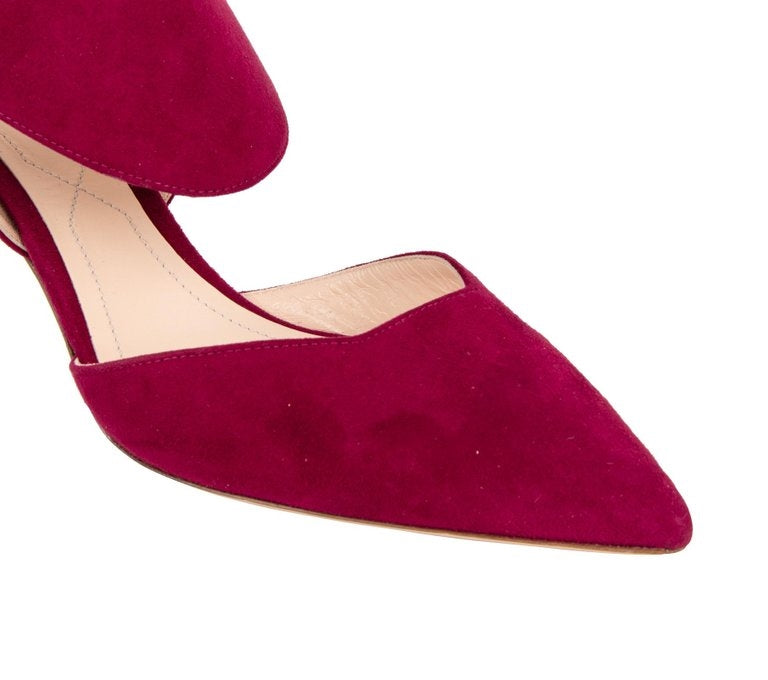 Nicholas Kirkwood Shoe Leda Suede Red Rich Claret 38 / 8 New w/ Box