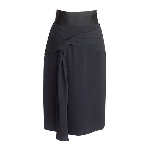 OSCAR de la RENTA skirt black silk beautiful draped detail 10 NWT