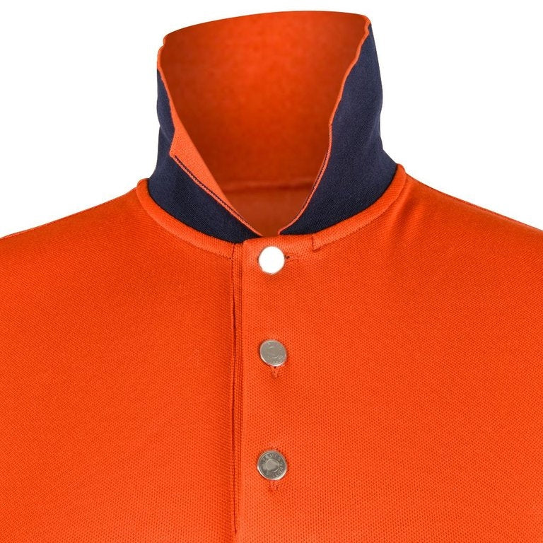 Hermes Men's Polo Style Orange Feu w/ Navy Edging Short Sleeve