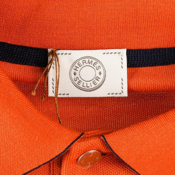 Hermes Men's Polo Style Orange Feu w/ Navy Edging Short Sleeve M New