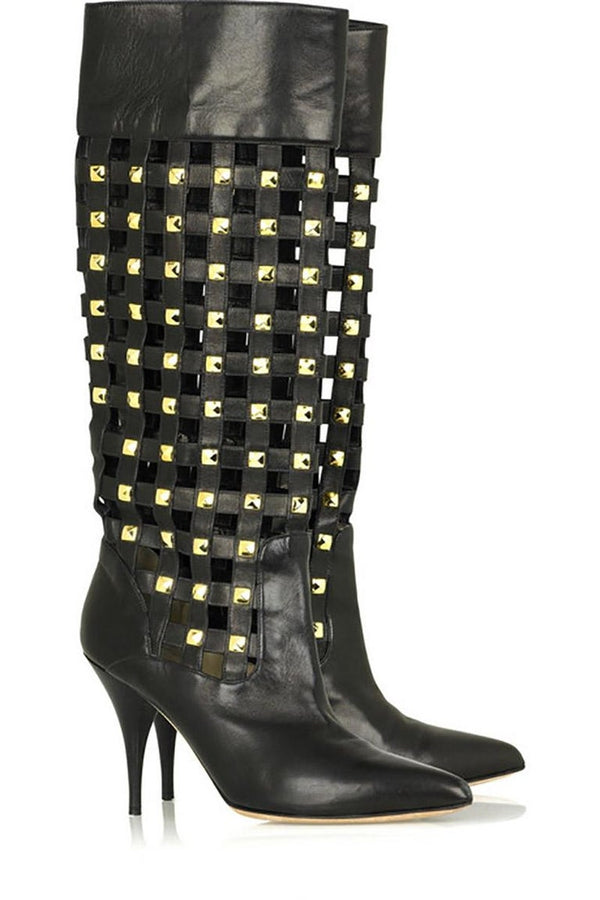 New OSCAR de la RENTA Studded Black Leather Boots