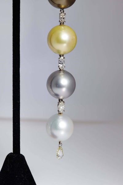 1980s Impressive Pearl Diamond Gold Ear Pendants