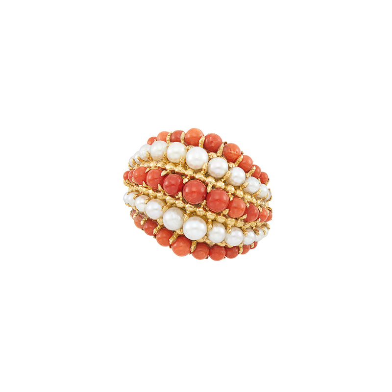 Van Cleef & Arpels Coral Pearl Gold Retro Ring