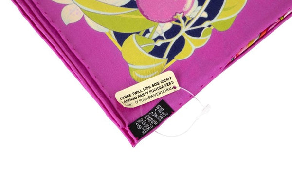 Hermes Flamingo Party Miami 90 cm Silk Limited Edition Pink Carre Scarf New