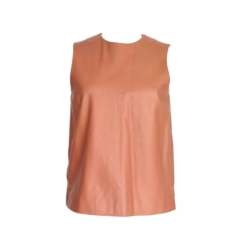 The Row Top Dusty Rose Pink Leather Sleek Perfection 6 nwt